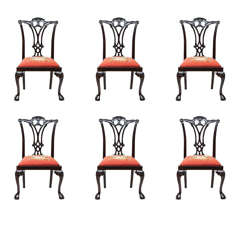 19th Century Chippendale Style Mahogany Side Chairs For Sale