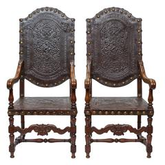 19th Century Heavy Embossed Leather and Walnut Armchairs