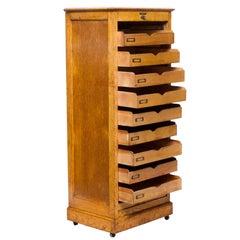 Vintage Oak File Cabinet from England