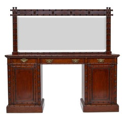 19th Century English Pedestal Sideboard with Mirror Back