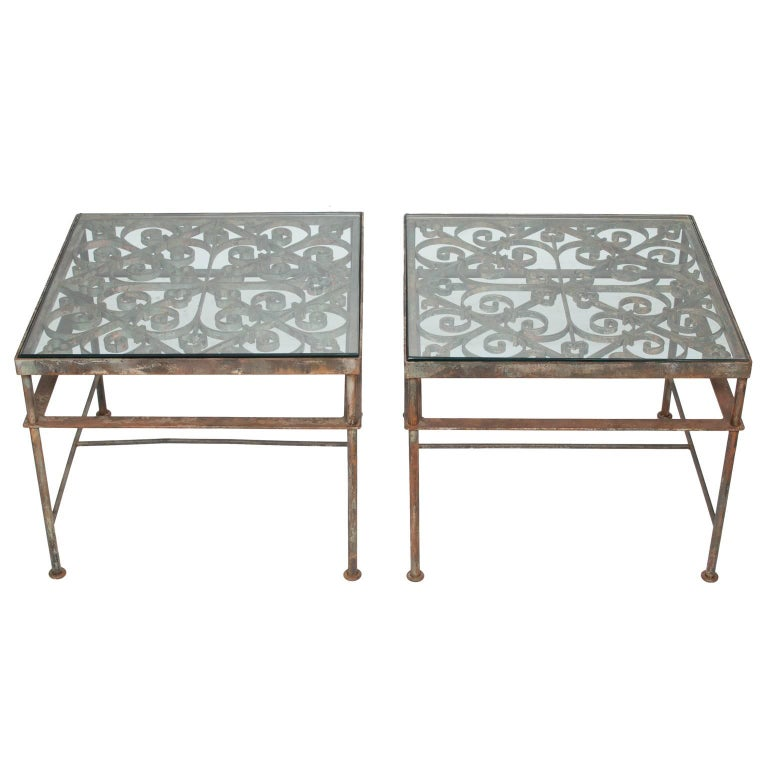 Vintage Pair of Side Table from Iron Balcony Fronts