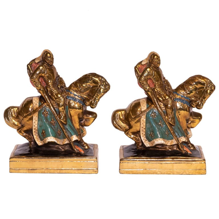Knights on Horseback Bronze Bookends