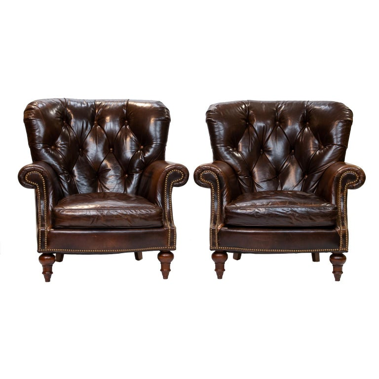Pair of Tufted Back Leather Club Chairs