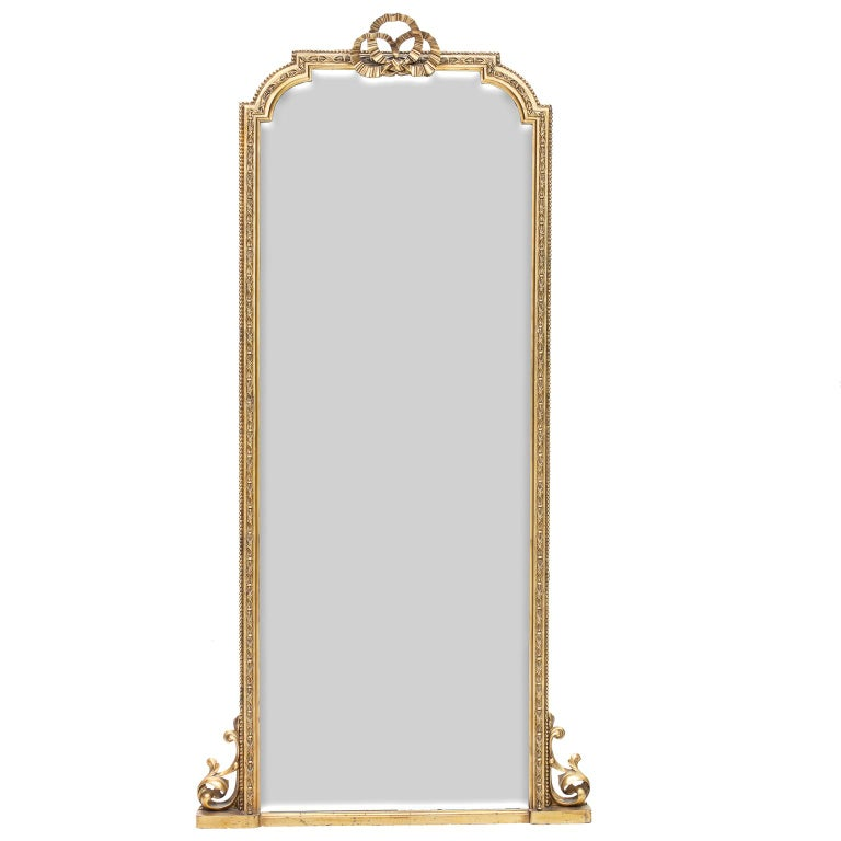 19th century pair of Scottish tall mirrors stamped John Taylor and Sons Edinburgh. One of the most notable furniture makers of Scotland and maker to