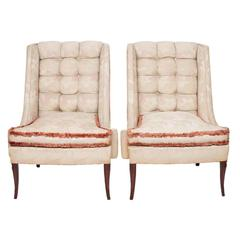 1930s Custom Vintage Shabby Chic Wing Chairs