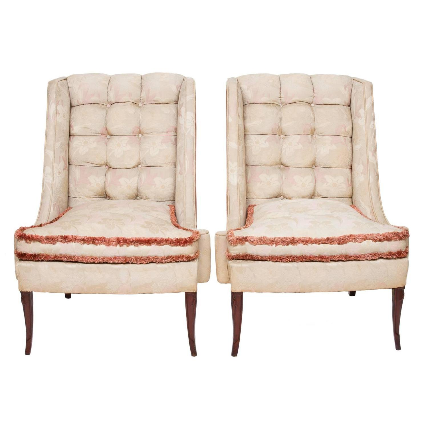 1930s Custom Vintage Shabby Chic Wing Chairs For Sale at 1stdibs