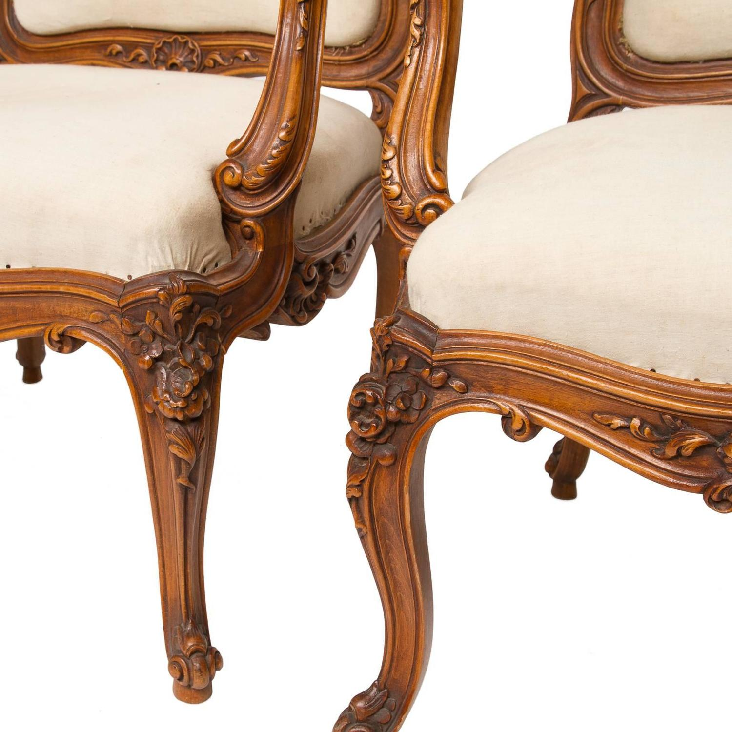 Pair Of Grand Louis Xv Walnut Fauteuils From Lyon At 1stdibs
