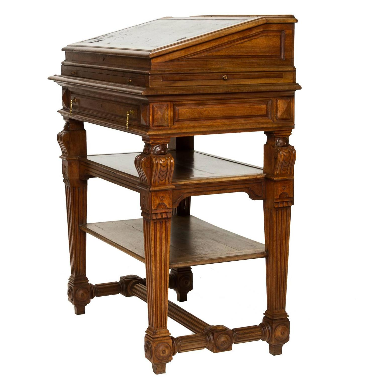 French Renaissance Walnut Stand Up Writing Desk At 1stdibs