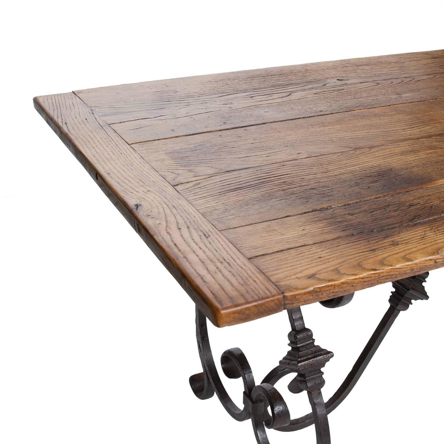 French Oak And Iron Dining Table 2