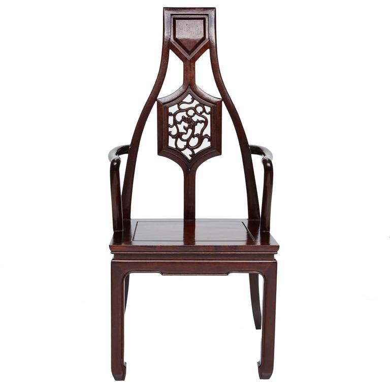 Vintage set of eight mahogany asian inspired armchairs for for Oriental dining room furniture for sale