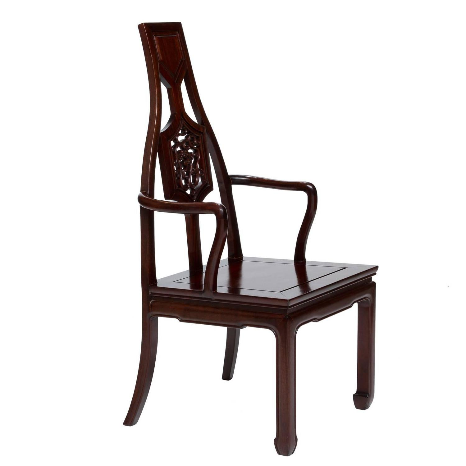 vintage set of eight mahogany asian inspired armchairs for