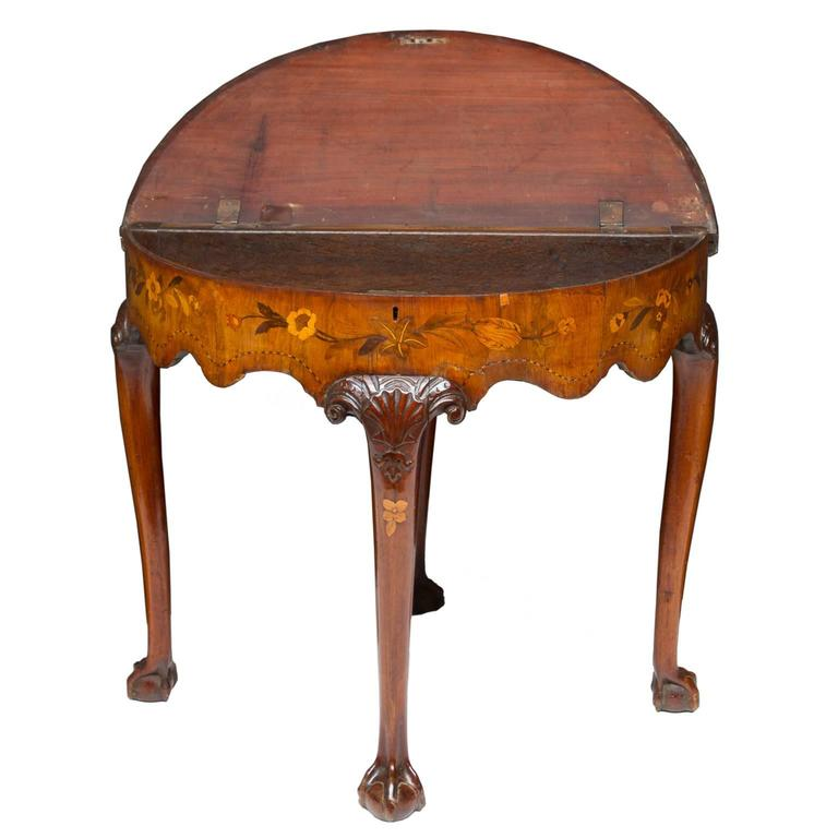 Chippendale 19th Century Dutch Marquetry Inlaid Flip Top Game Table For Sale