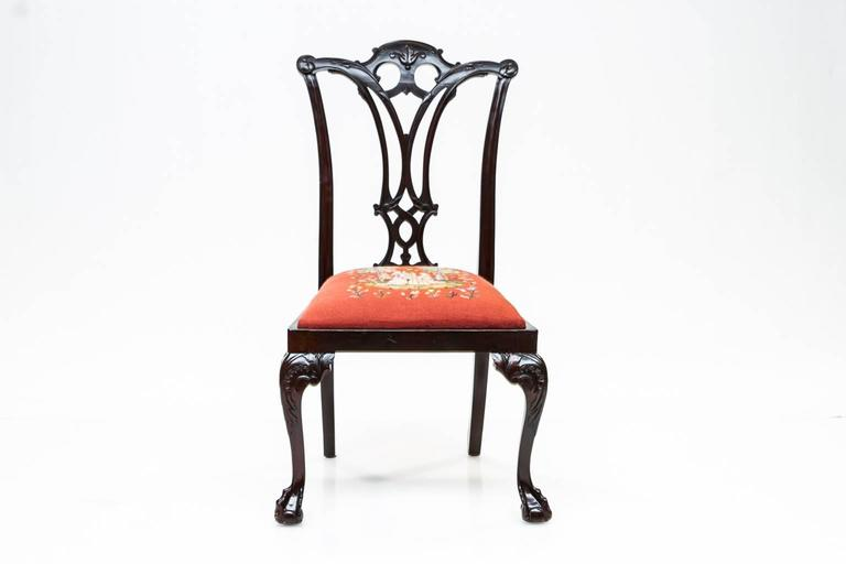 19th century set of six Chippendale style mahogany side chairs. Each chair has been waxed and checked for stability. These are ready to use. Beautiful rich dark mahogany color almost a black. Back are pierced and splat is sturdy. Front legs are