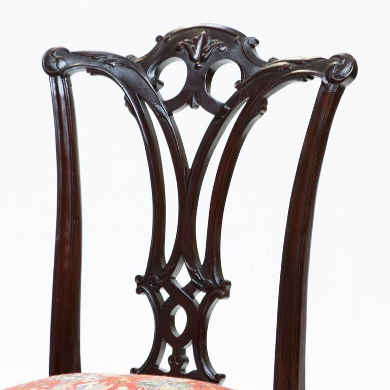 Mid-19th Century 19th Century Chippendale Style Mahogany Side Chairs For Sale