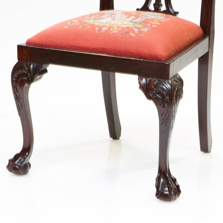 19th Century Chippendale Style Mahogany Side Chairs For Sale 1