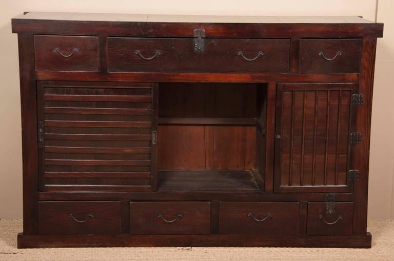Large Japanese Tansu Cabinet of Lacquered Wood and Enameled Steel ...