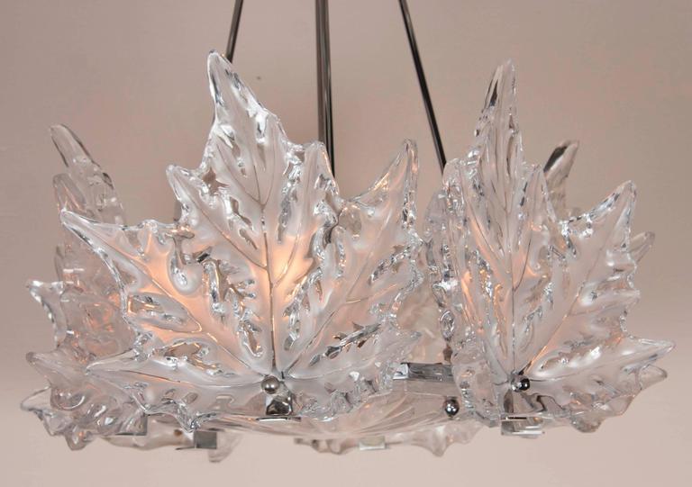 Leaf Form Lalique Chandelier 2 available For Sale at 1stdibs