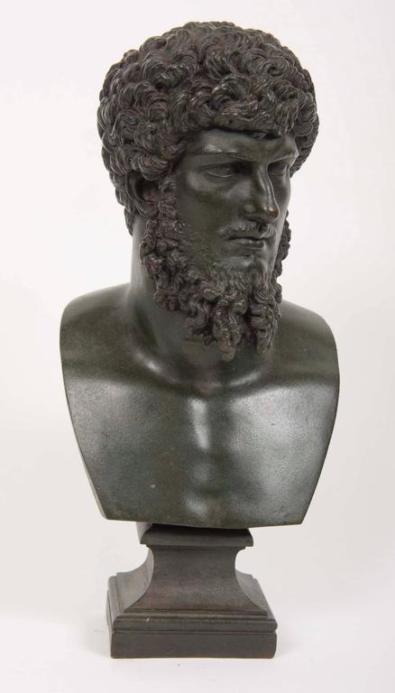 A 19th century grand Tour patinated bronze bust of Lucious Verus.