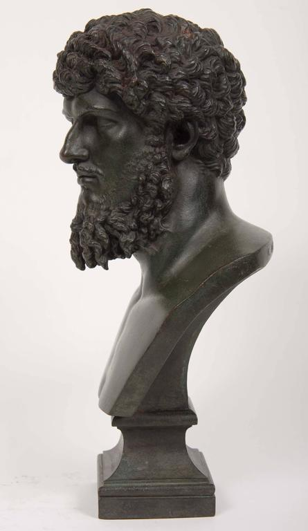 European 19th Century Grand Tour Patinated Bronze Bust of Lucius Verus For Sale