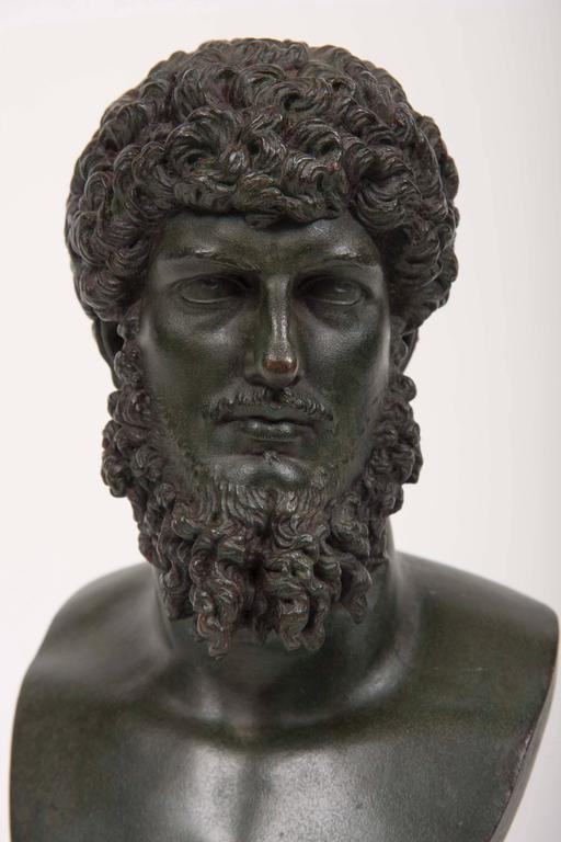 19th Century Grand Tour Patinated Bronze Bust of Lucius Verus For Sale 2