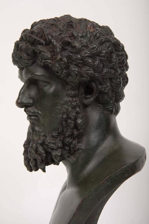 19th Century Grand Tour Patinated Bronze Bust of Lucius Verus For Sale 3