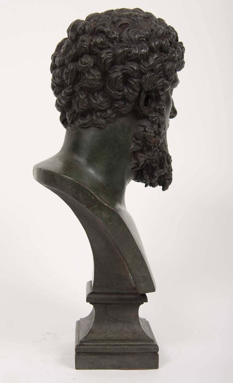 19th Century Grand Tour Patinated Bronze Bust of Lucius Verus In Excellent Condition For Sale In Stamford, CT