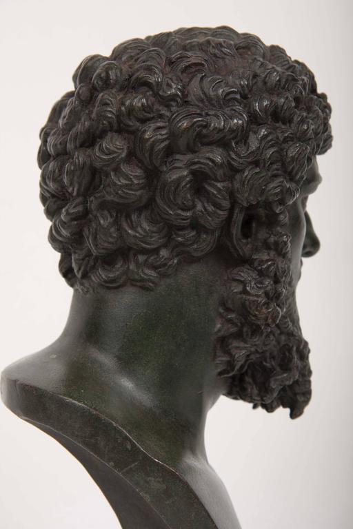 19th Century Grand Tour Patinated Bronze Bust of Lucius Verus For Sale 4