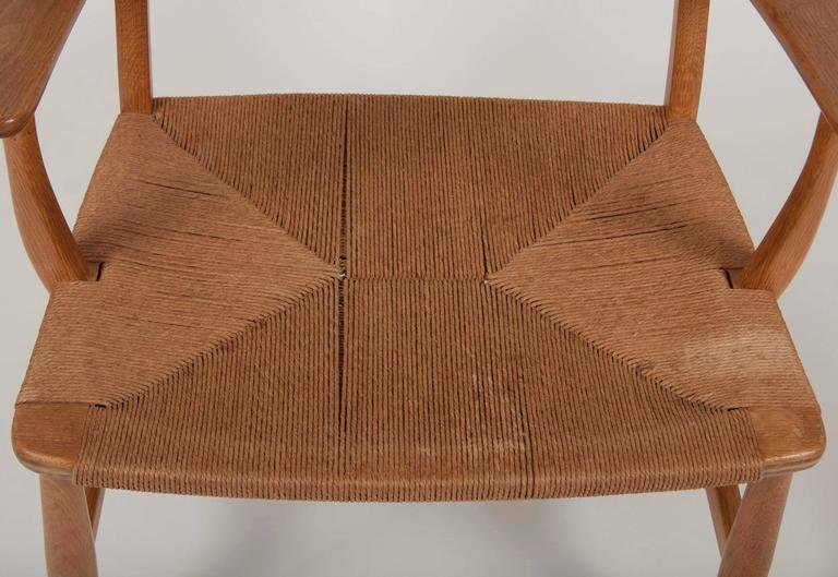 Papercord Hans Wegner Model CH22 Shell Back Paddle Armchair For Sale