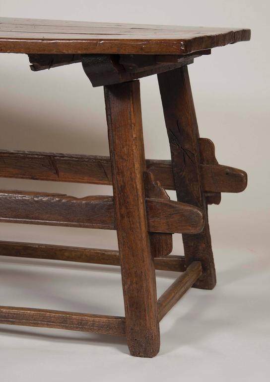 Continental Oak Trestle Table For Sale 2