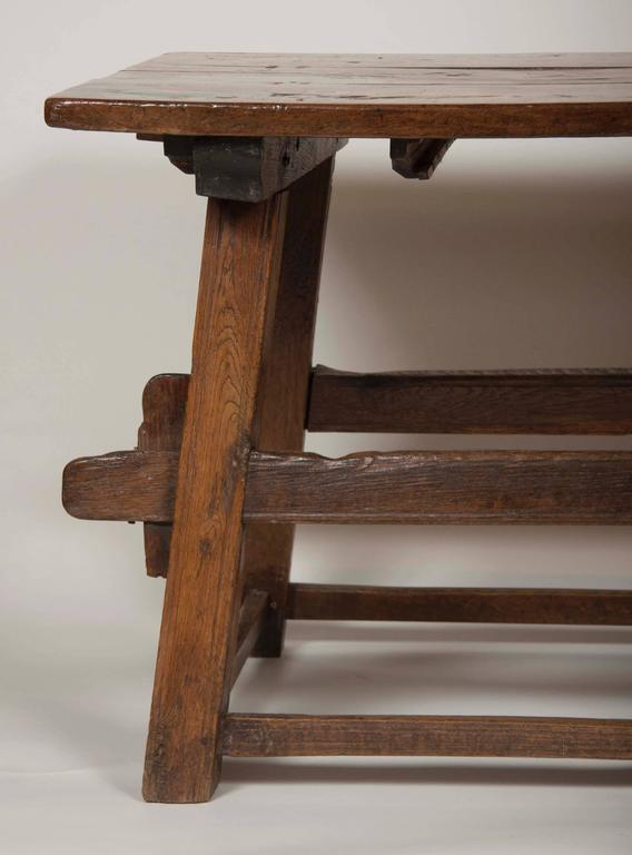 Continental Oak Trestle Table For Sale 1