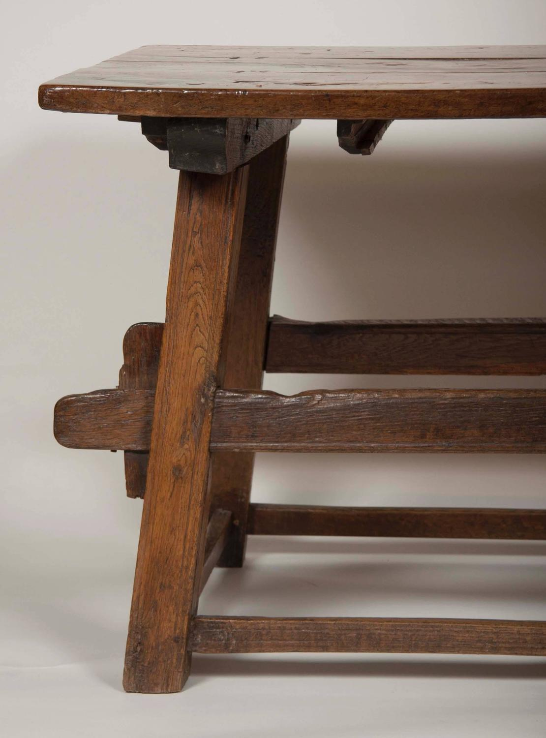 Continental oak trestle table for sale at stdibs