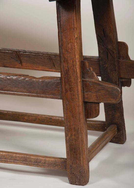 Continental Oak Trestle Table For Sale 3