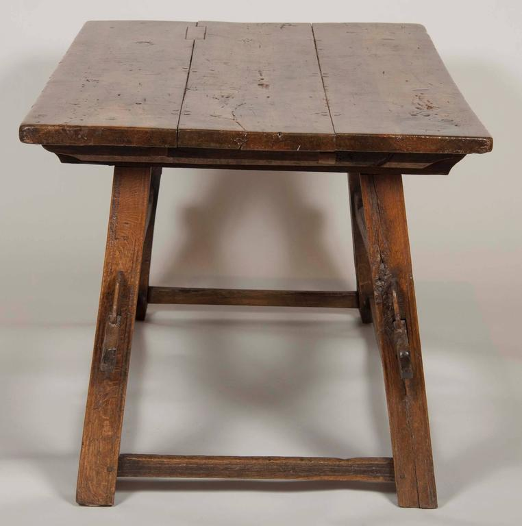 18th Century and Earlier Continental Oak Trestle Table For Sale