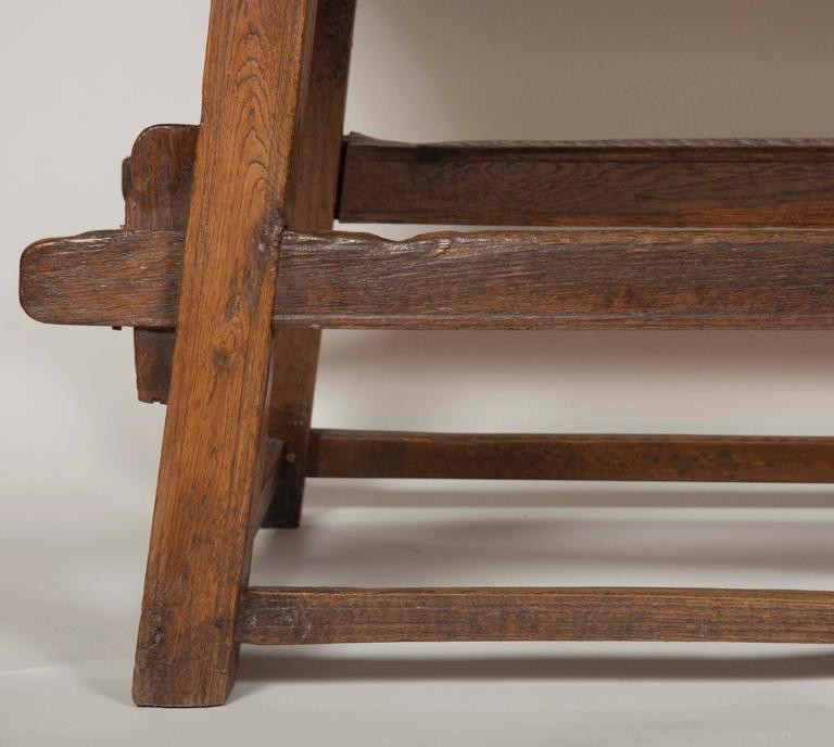 Continental Oak Trestle Table For Sale 4