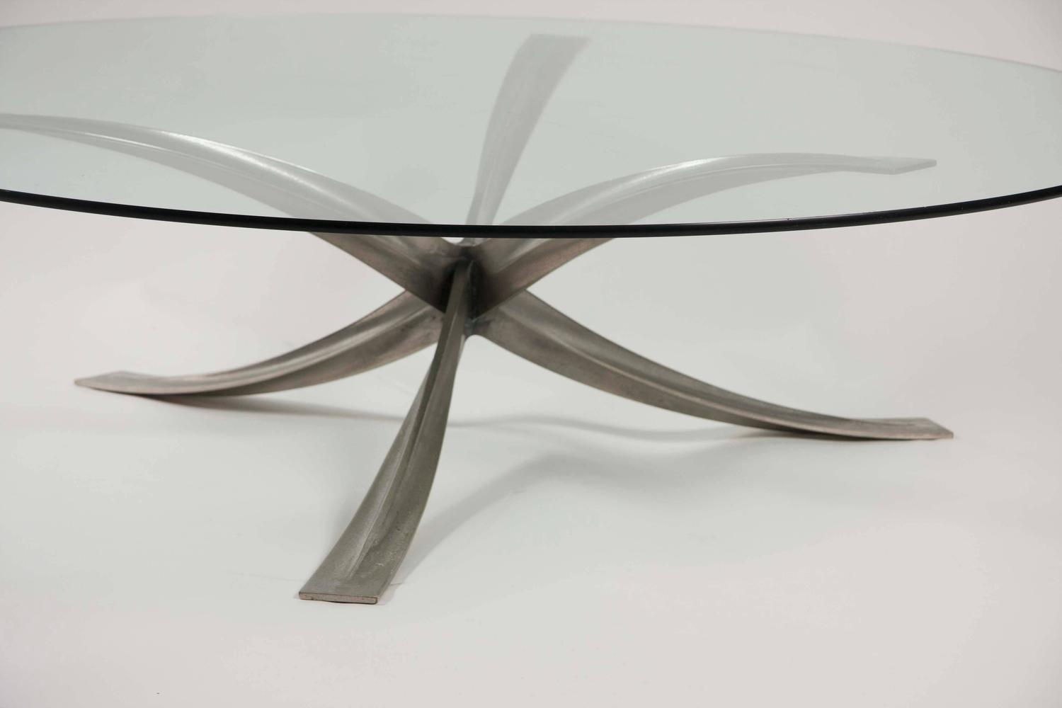 Large Round Glass Top Coffee Table By Michel Mangematin For Sale At 1stdibs