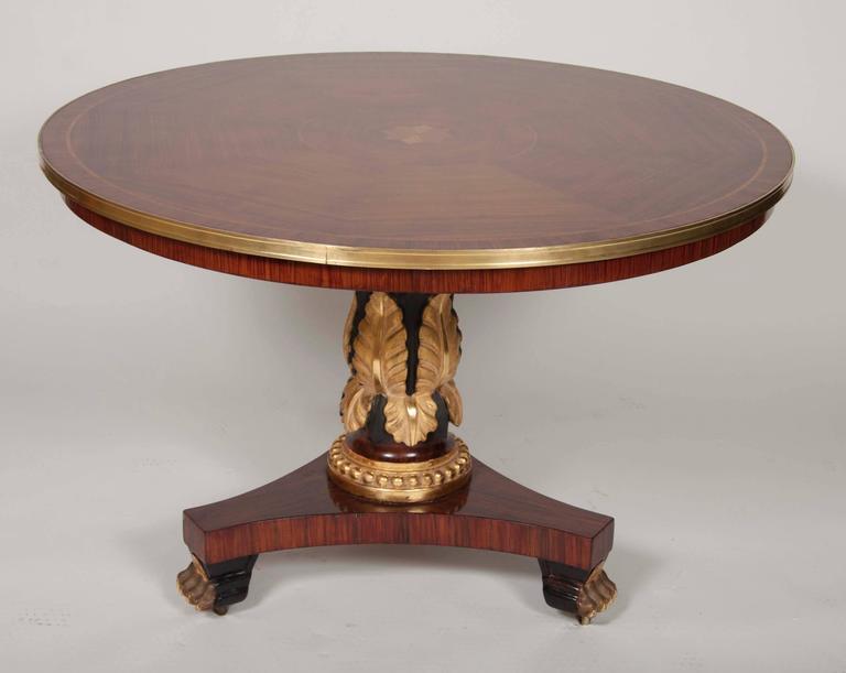 Inlay English Regency Mahogany Center Table For Sale