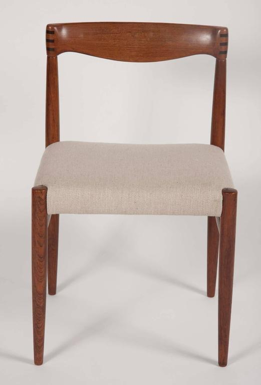 Set of four H. W. Klein for Bramin Mobler dining chairs in teak with rosewood. Newly reupholstered.