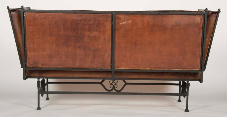 American Pair of Early 20th Century Leather Knoll Form Sofa For Sale