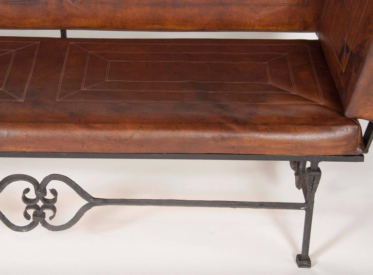 Pair of Early 20th Century Leather Knoll Form Sofa In Good Condition For Sale In Stamford, CT