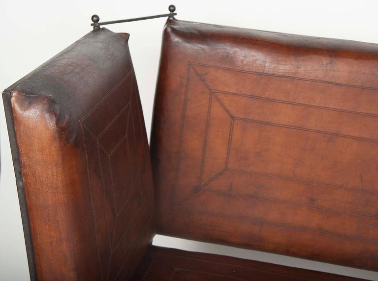 Pair of Early 20th Century Leather Knoll Form Sofa For Sale 4