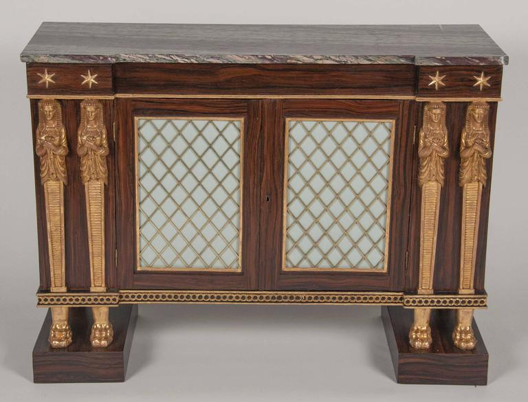 La Credenza In English : English regency egyptian revival side cabinet or credenza for sale