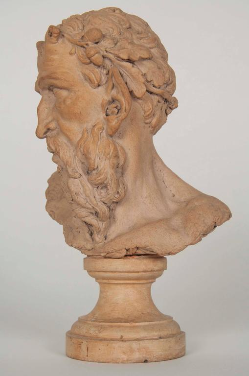Classical Greek French Terracotta Bust of a Satyr For Sale