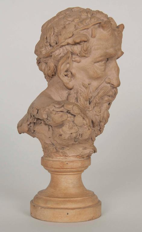 French Terracotta Bust of a Satyr In Excellent Condition For Sale In Stamford, CT