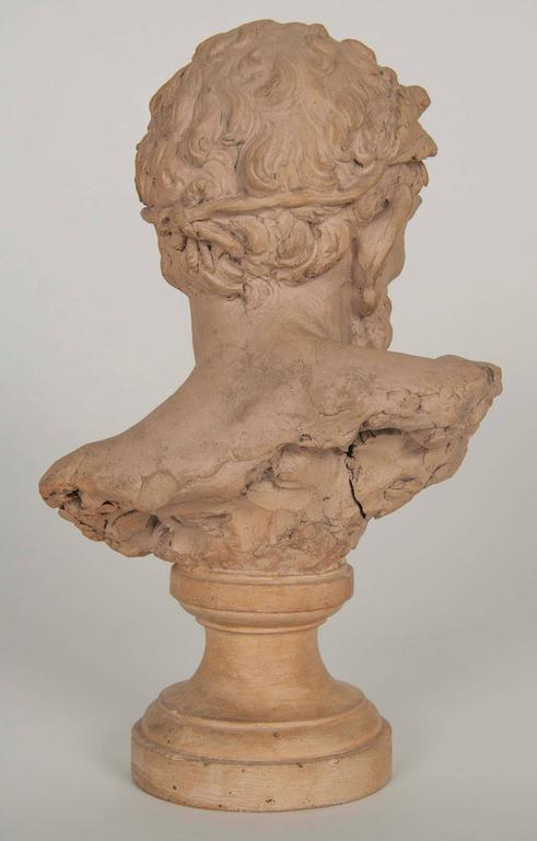 19th Century French Terracotta Bust of a Satyr For Sale