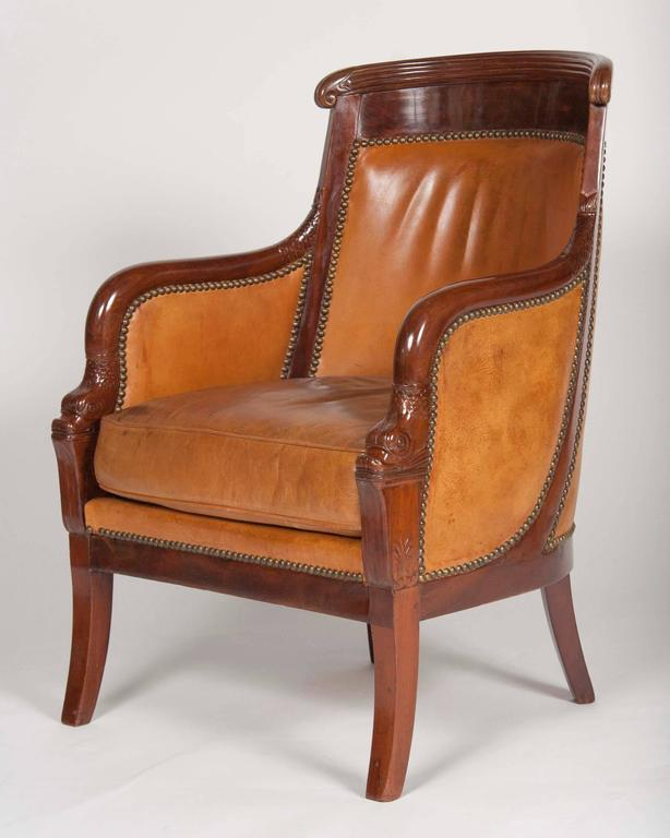 Leather Matched Pair of Mahogany Louis Philippe Bergères For Sale