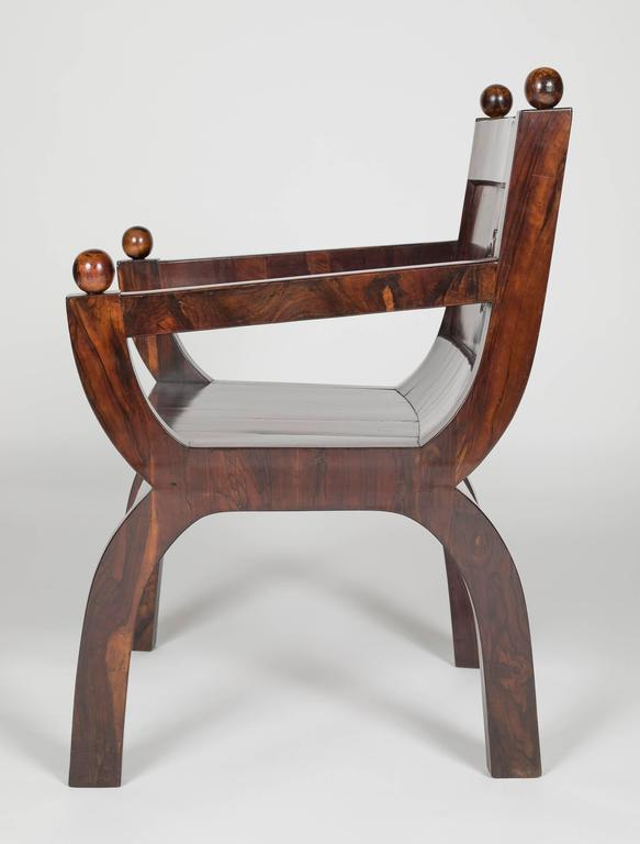 19th Century Olivewood Curule Form Armchair For Sale 1