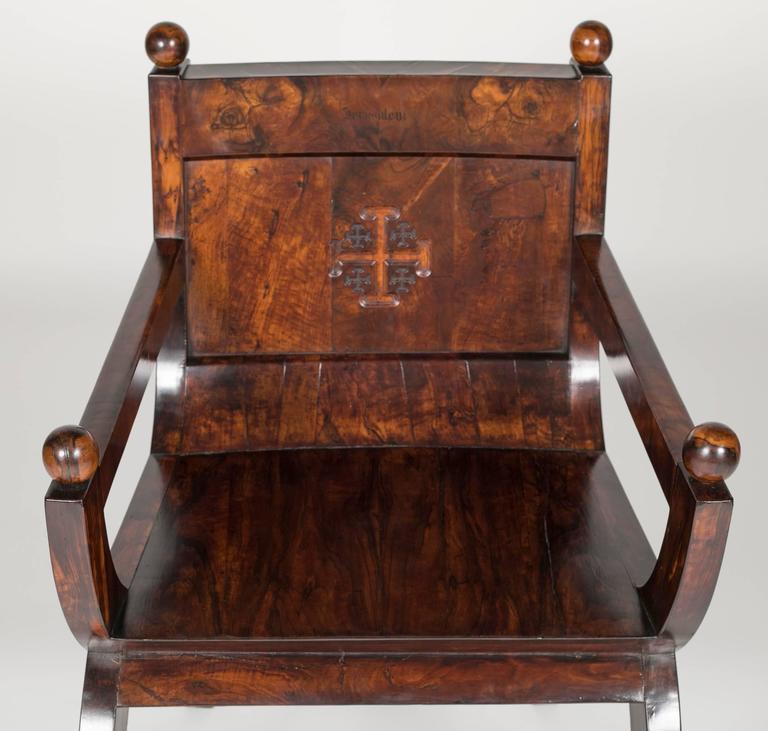 Veneer 19th Century Olivewood Curule Form Armchair For Sale