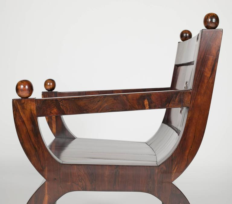19th Century Olivewood Curule Form Armchair For Sale 2