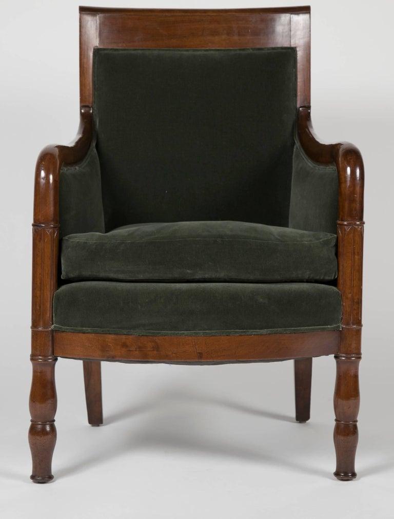 Carved Directoire Bergère in Velvet Upholstered For Sale