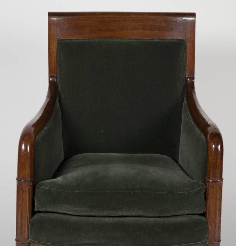 Late 18th Century Directoire Bergère in Velvet Upholstered For Sale